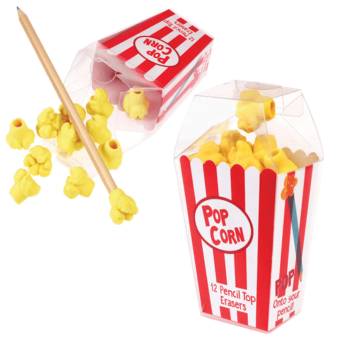 Popcorn pencil top erasers(box of 12)