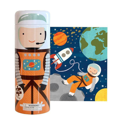 TIN CANISTER 64 PIECE INTO SPACE PUZZLE