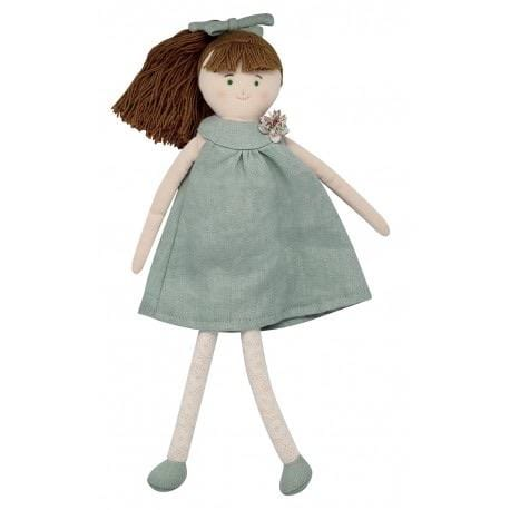 Doll with celadon green linen dress