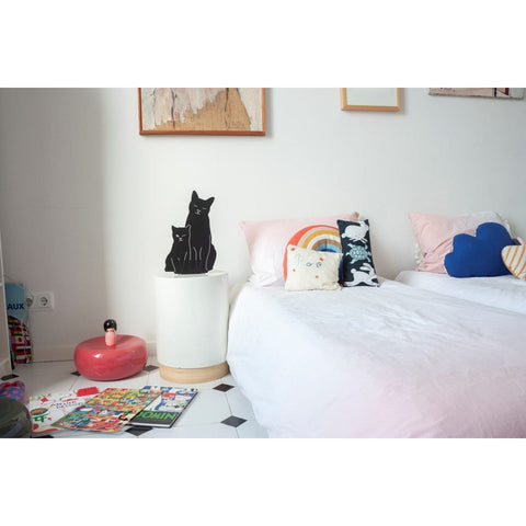 Kitties - Decoupage Lamp Black