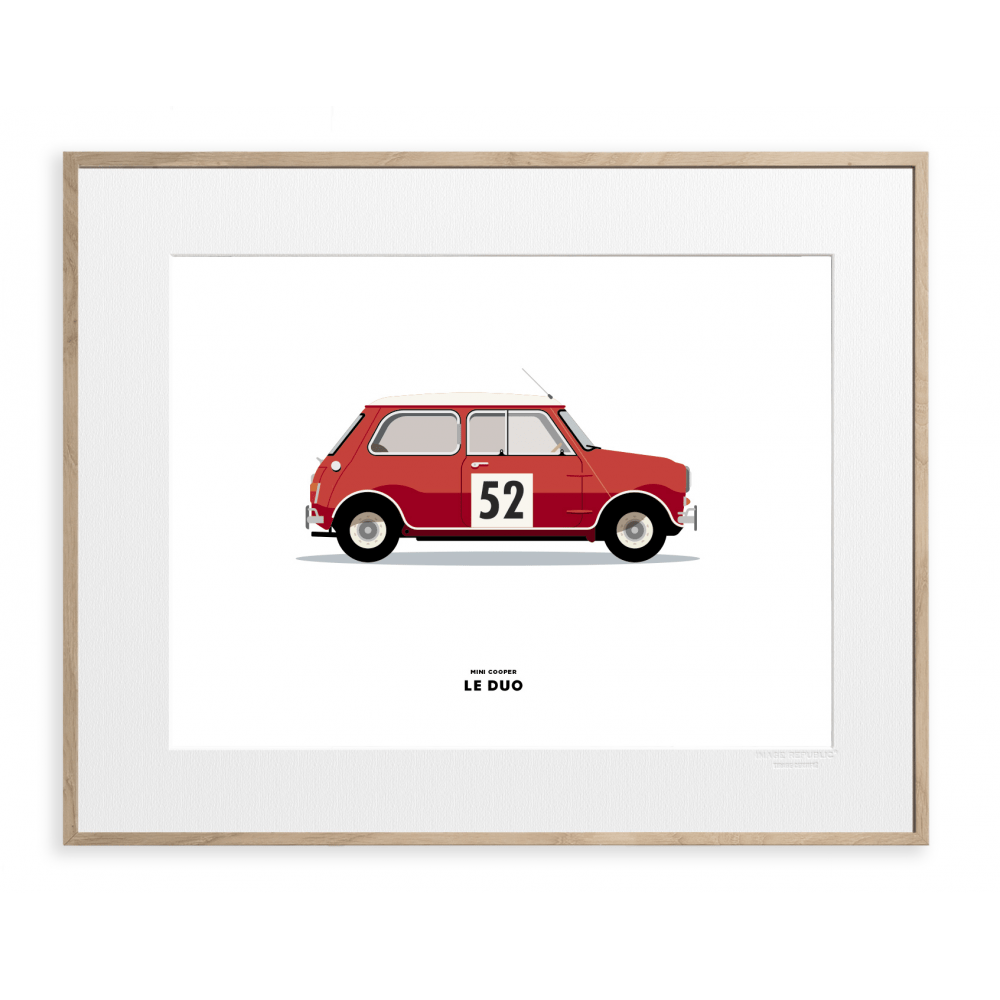 LE DUO MINI COOPER ROUGE 40X50 CM