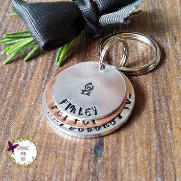 Hand Stamped Keyrings | Sparkle And Dot