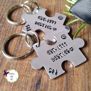 Personalised Aluminium Puzzle Piece Keyring | Sparkle & Dot Hand Stamped