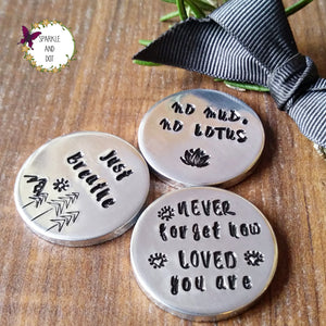 Personalised Hand Stamped Worry Anxiety Tokens Sparkle & Dot