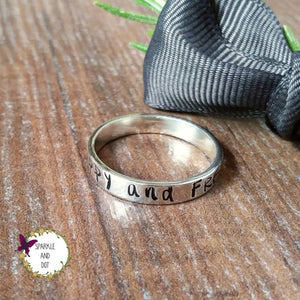 Personalised Silver Women's Band Ring | Sparkle & Dot