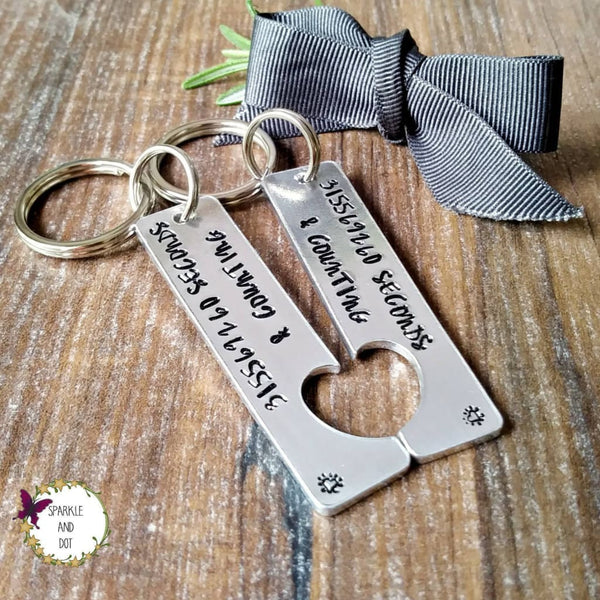 10 Years & Counting | 10th Anniversary Split Heart Keyrings-Keyring-Sparkle & Dot Designs