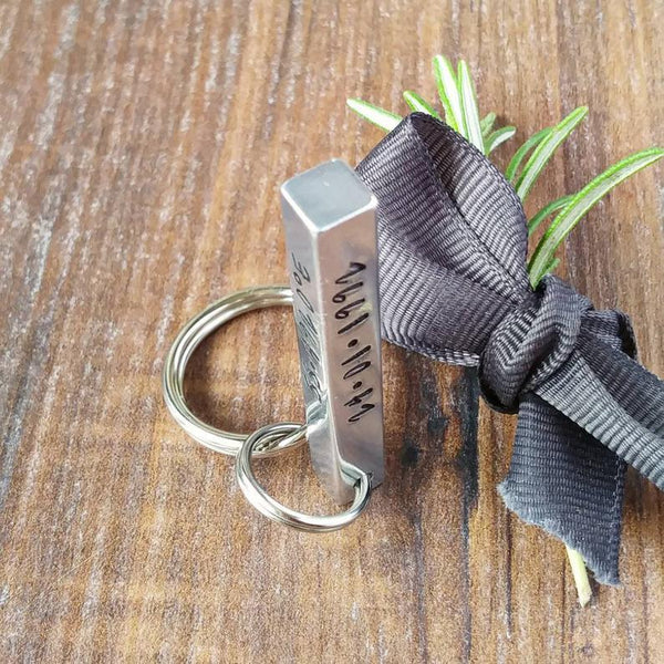 Personalised 4 Sided 3D Bar Keyring | Coordinates 10th Anniversary Gifts-Keyring-Sparkle & Dot Designs