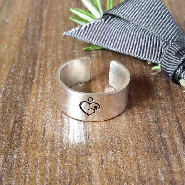Silver Breastfeeding Reminder Cuff Ring Sparkle & Dot Hand Stamped