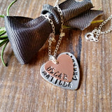 Personalised Hand Stamped Stacked Heart Copper Name Necklace - sparkle-dot-designs
