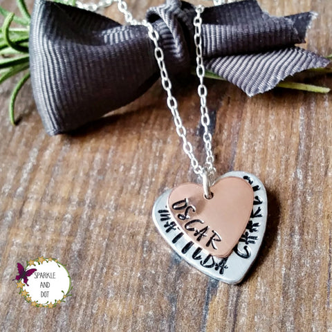 Personalised Hand Stamped Stacked Heart Copper Name Necklace - Sparkle & Dot Personalised Hand Stamped Designs