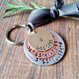 Personalised Coordinates Anniversary Keyring Gift - Sparkle & Dot Personalised Hand Stamped Designs