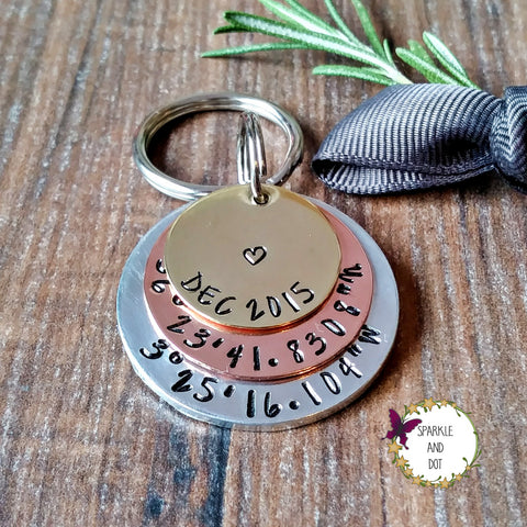 Personalised Coordinates Anniversary Keyring Gift - sparkle-dot-designs