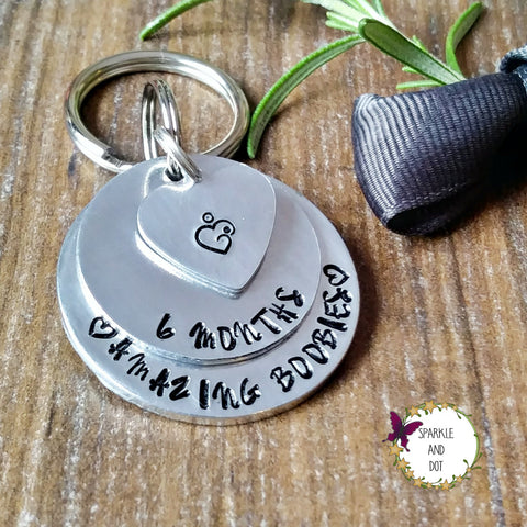 Personalised Silver Boobies Breastfeeding Milestone-Keyring-Sparkle & Dot Designs