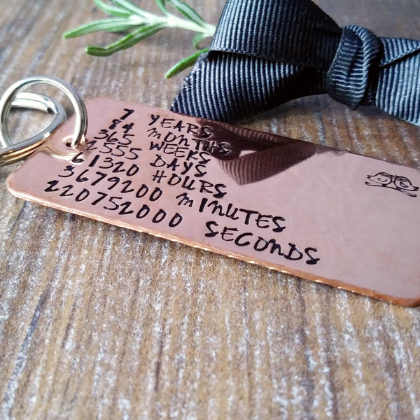 Copper 7th Wedding Anniversary | Countdown Keyring | Personalised Gifts-Keyring-Sparkle & Dot Designs