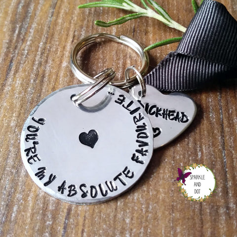 You're My Favourite... Profanity Swear Word Keyring Sparkle & Dot Hand Stamped