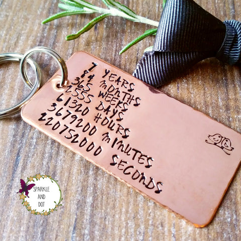 Copper 7th Wedding Anniversary | Countdown Keyring | Personalised Gifts
