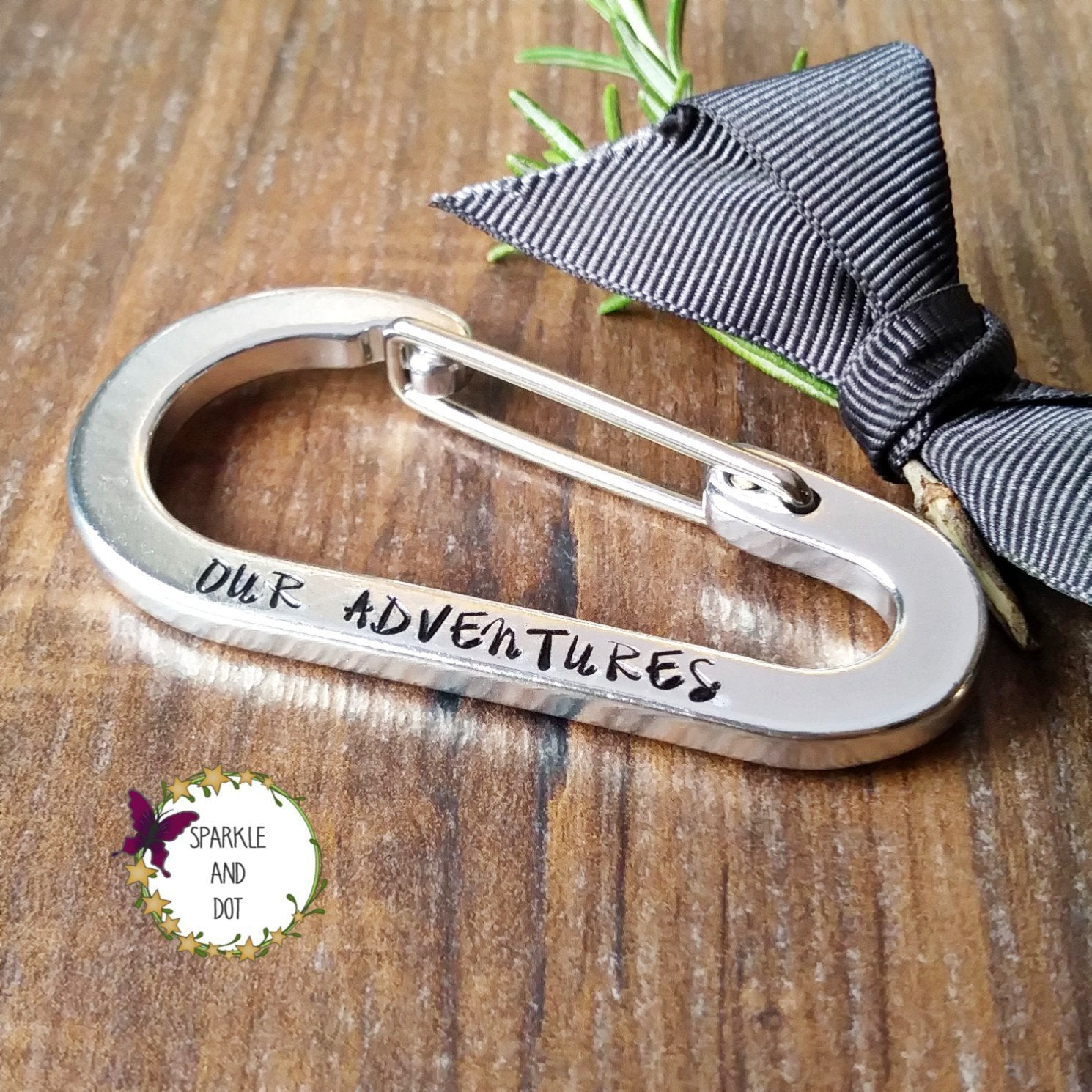 Personalised Carabiner Keyring | Climbing Gifts | Coordinates Keychain-Keyring-Sparkle & Dot Designs