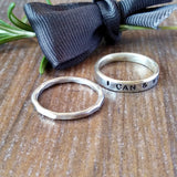 Hand Stamped Personalised Word & Textured Stacked Ring - Sparkle & Dot Personalised Hand Stamped Designs