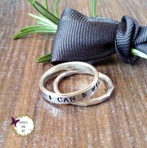 Personalised Silver Band Ring Set-Full Ring-Sparkle & Dot Designs