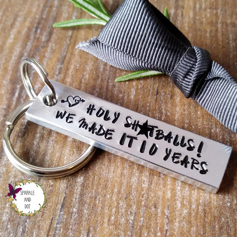 Funny 10th Wedding Anniversary Gift Sparkle & Dot Hand Stamped