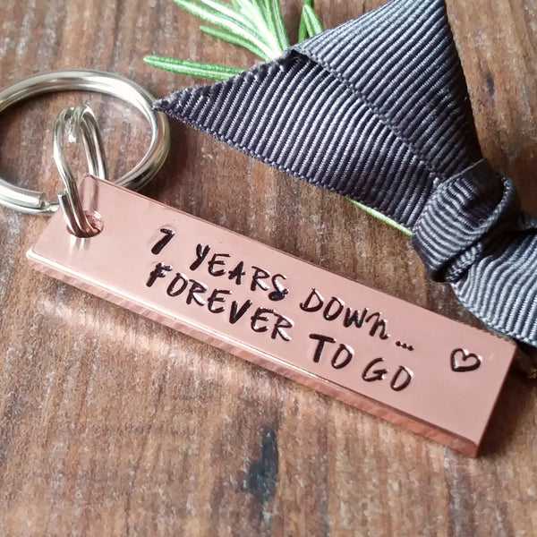 Personalised Chunky Copper Bar Keyring | 7th Anniversary Gifts-Keyring-Sparkle & Dot Designs