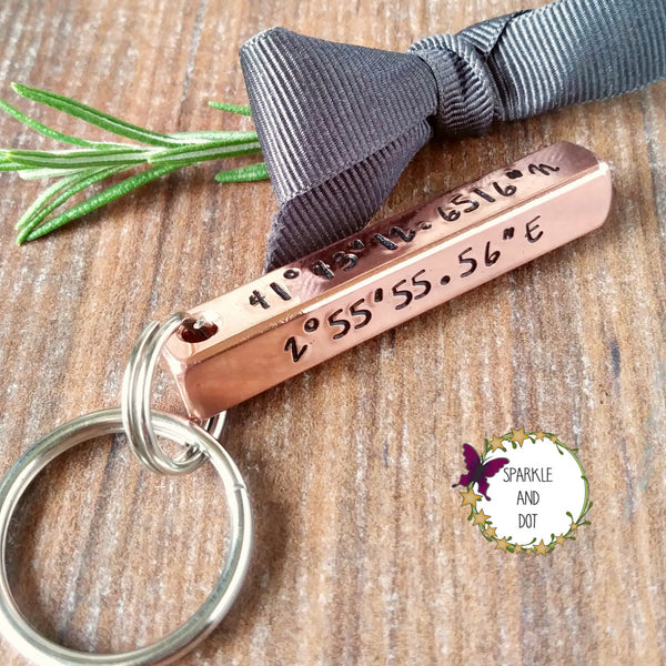 Copper Personalised 4 Sided 3D Bar Keyring | Coordinates 7th Anniversary Gifts-Keyring-Sparkle & Dot Designs