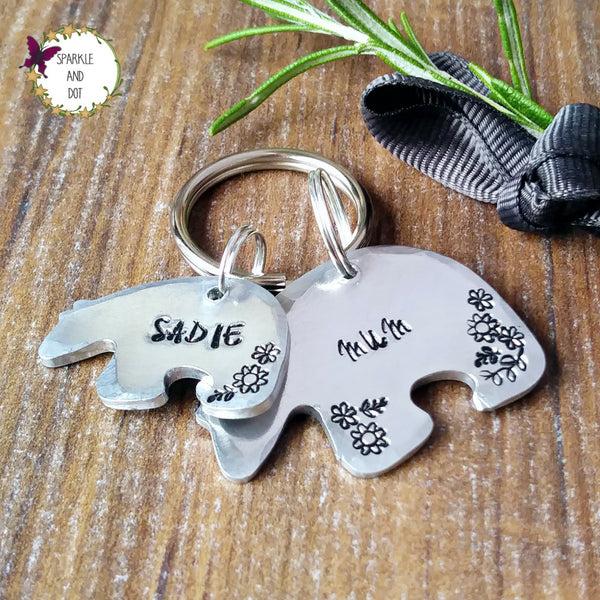 Mummy Daddy Polar Bear Family Personalised Keyring-Keyring-Sparkle & Dot Designs