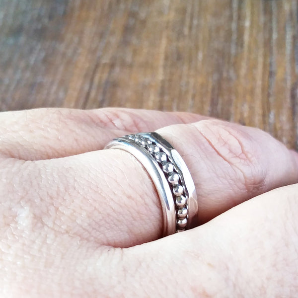 Sterling Silver Stacking Ring-Full Ring-Sparkle & Dot Designs