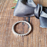 Beaded Hammered Smooth Skinny Silver Stacker Rings - Sparkle & Dot Designs