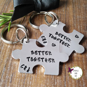 Personalised 10th Anniversary Puzzle Piece Set-Keyring-Sparkle & Dot Designs