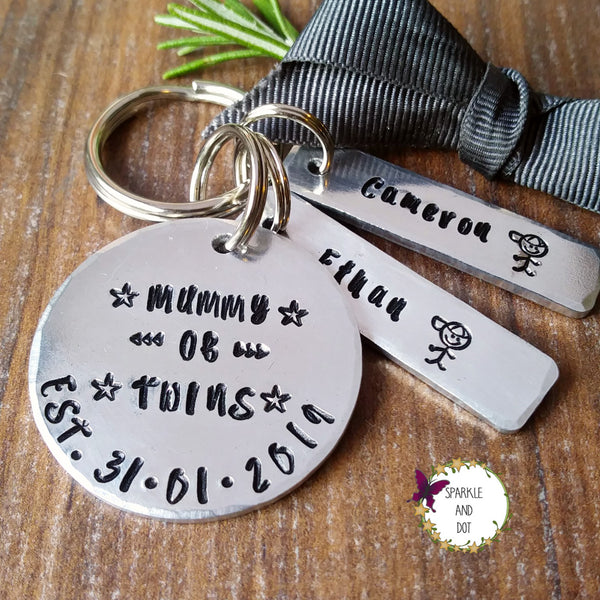 Daddy Mummy of Twins Personalised Keyring-Keyring-Sparkle & Dot Designs