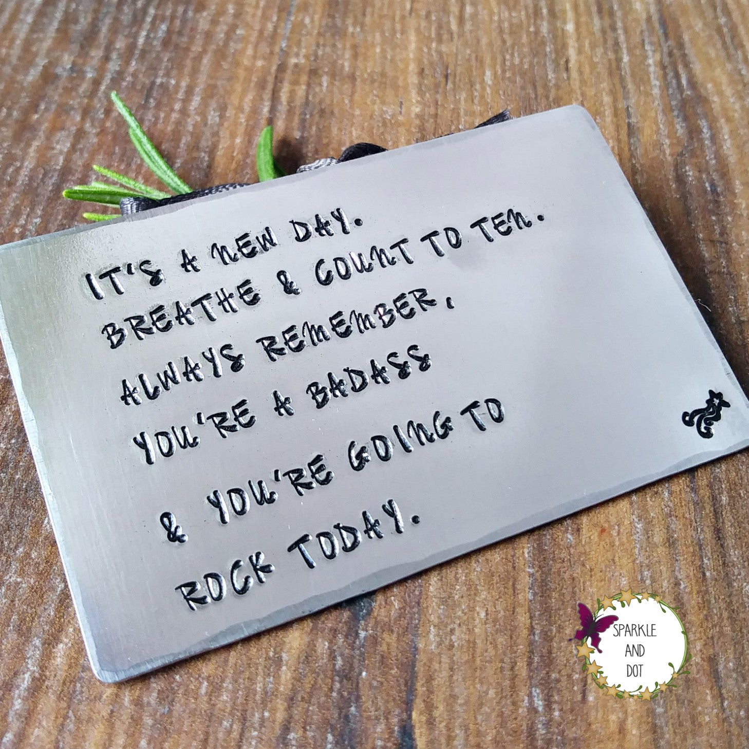 Positive Quote Hand Stamped Wallet Card-Wallet Card-Sparkle & Dot Designs