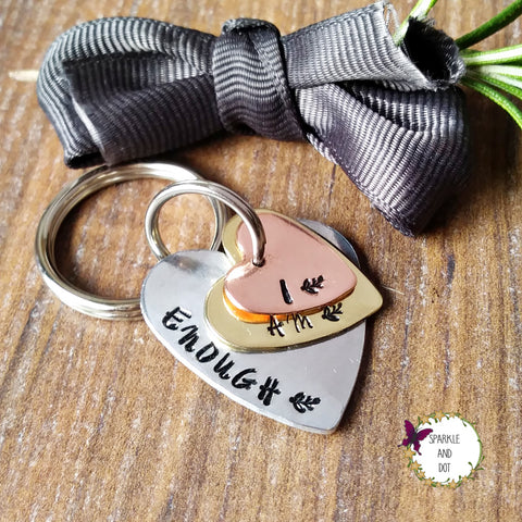 I Am Enough Hand Stamped Motivational Mantra Keychain - sparkle-dot-designs