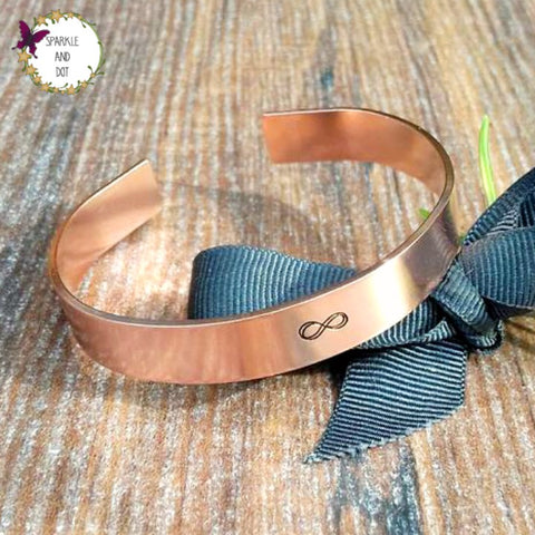 Infinity Copper Bracelet Him Or Her Personalised Sparkle and Dot