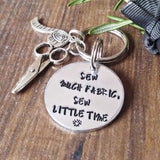 Personalised Sewing Hand Stamped Keyring Gift For Crafters