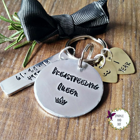 Personalised Golden Boobies Breastfeeding Milestone Keyring-Keyring-Sparkle & Dot Designs