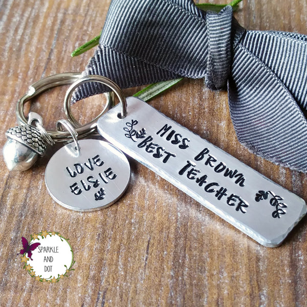 Personalised Best Teacher Keyring-Keyring-Sparkle & Dot Designs