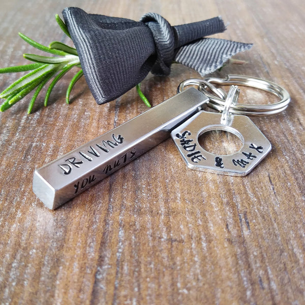 Personalised Bar & Washer Keyring | Father's Day Gifts-Keyring-Sparkle & Dot Designs