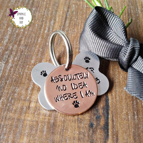Aluminium Bone And Copper Hand Stamped Dog ID Pet Tags Personalised Sparkle & Dot
