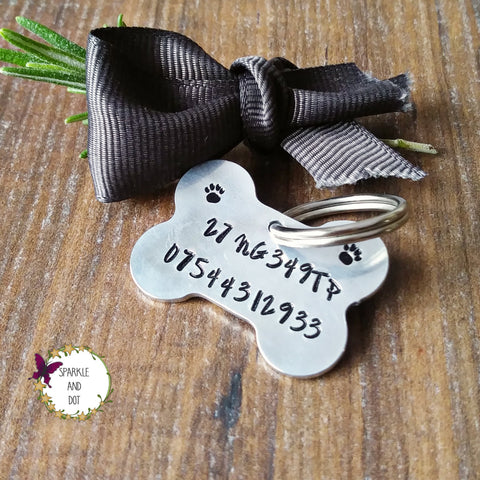 Dog ID Tags Personalised Aluminium Bone Shape Hand Stamped-Dog Tag-Sparkle & Dot Designs