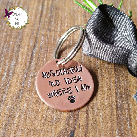Single Copper Hand Stamped Dog ID Pet Tags Personalised - sparkle-dot-designs