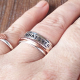 Custom Hand Stamped Word Band Silver And Copper Ring - sparkle-dot-designs