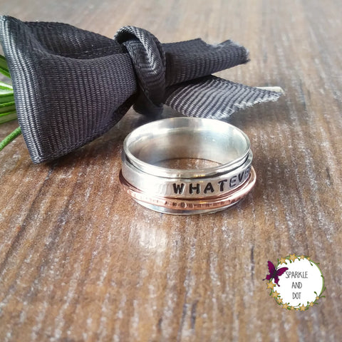 Personalised Silver & Copper Wire Ring Sparkle & Dot