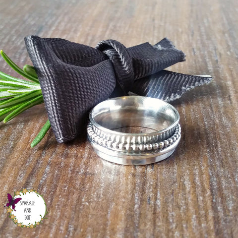 Simple Silver Wide Band Spinner Ring Sparkle & Dot