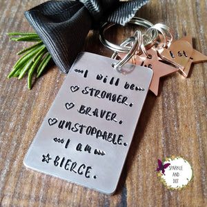 Weight Loss Motivational Hand Stamped Milestone Keyring I Am Fierce-Keyring-Sparkle & Dot Designs