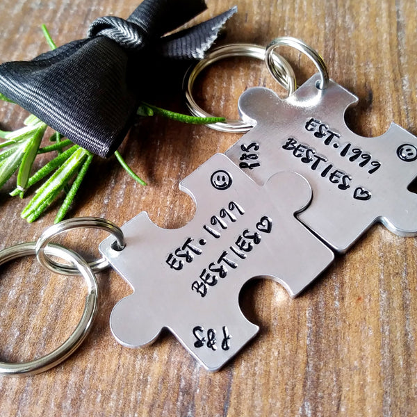 Personalised Best Friend Puzzle Piece Keyring-Keyring-Sparkle & Dot Designs
