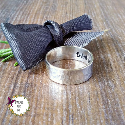 Personalised Hammered Silver Hidden Message Wide Band Ring - sparkle-dot-designs
