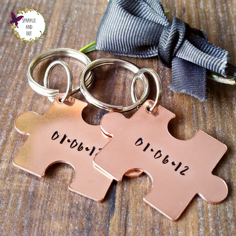 Copper 7th Anniversary Puzzle Piece Keyring Set-Keyring-Sparkle & Dot Designs