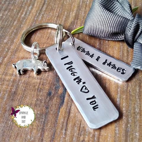 Personalised Pig Gifts Hand Stamped Keyring Sparkle & Dot