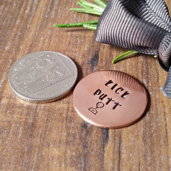 Personalised Copper Golf Ball Marker-Golf Marker-Sparkle & Dot Designs